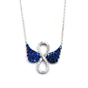 "Jewelry - ""Forever an Angel"" Sapphire & CZ Sterling Necklace"